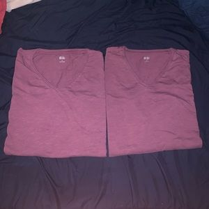 2 Plum/Purple Uniqlo Slub Neck T-Shirts Sz Small